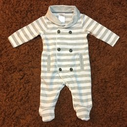 Wholesale Baby Clothes Christmas Designs - Infant Boy Grils Romper Long Sleeve Autumn Spring Cotton Botton Striped Patch Cool Design Baby Children Clothes