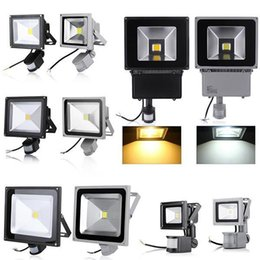 Wholesale Black Pir Sensor - gray  black PIR Motion sensor 10W 20W 30W 50W 70w 100w led flood garden light Induction Sense detective floodlamps AC 85-265V Lawn Spotlight