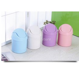 Wholesale Wholesale Garbage Cans - Wholesale- Mini Desk Desktop Trash Bin Can Waste Rubbish Bin Dustbin Car DustBin Home Kitchen Garbage Holder 4 Colors
