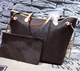 Wholesale Tote Purse Handles - Luxury Women designer leather never fulls gm totes bag with removable zippered clutch Shoulder Bags backpack Purse Wallet 157A free shipping
