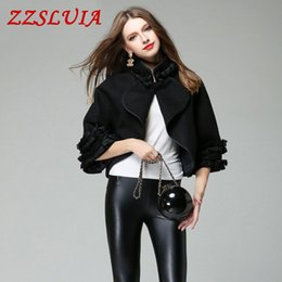 Wholesale Women Nice Winter Coats - 2017 new nice autumn and winter fashion casual batwing sleeve ruched designer all-match loose short wool blend cloak coat 2187