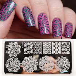 Encaje de chevron online-Al por mayor-NACIDO PRETTY Lace Chevron Nail Art Stamping Plates Nails Stamp Template Vines Placa de imagen BP-L028 12.5 x 6.5cm # 21814