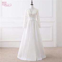 Wholesale Cheap Plus Tops - 2017 Fall Winter Plus Size Wedding Dresses With Long Sleeves Deep V-Neck Lace Top Bridal Gowns Cheap 2016 Wedding Gowns Vestidos De Noivas