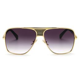 Wholesale European Sunglasses Brands - Peekaboo Brand new 2017 steampunk square sunglasses men flat top metal gold european american retro sun glasses luxury male