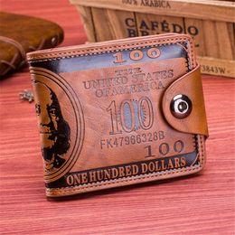 Wholesale Leather Men Wallet Pattern - New Design Fashion Dollar Pattern Card Holder Men Wallets Cash Clutch Pocket Wallet Fashion Short PU Leather Men Purse