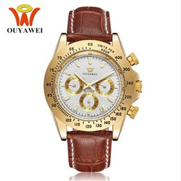 Wholesale Leather Hand Bands - New OUYAWEI mens hand wind mechanical Watches reloj Masculino hombre 30M Waterproof Luxury leather Band classic design white gold wristwatch
