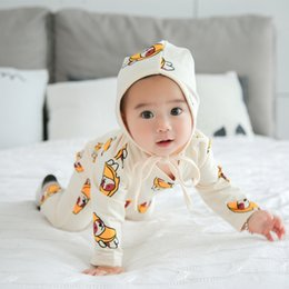 Wholesale Christmas Headband Cheap - Baby Rompers Cotton Jumpsuits Pajamas With Hats 2pcs Sets Cartoon Animals Printed Kids Clothing Cheap Free DHL 495