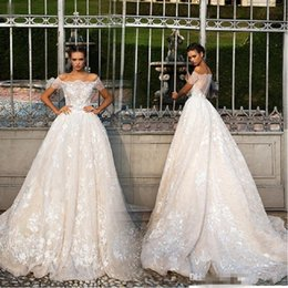 Wholesale Miss Dresses Com - 2017 Arabic Vintage Off Shoulder Lace Wedding Dresses Illusion Cap Sleeves A-Line Bridal Party Gowns Backless Vestido De Noiva Com Renda