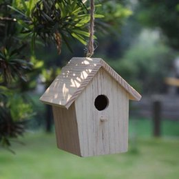 Wholesale Home Garden Products - ecorative home products 2PCS LOT.Paint unfinished wood bird house,Bird cage, Garden decoration,Spring products,Home ornament. 6x6x9 cm,Fr...