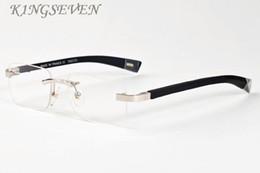 Wholesale Women S Rimless Eye Glasses - new luxury buffalo horn glasses 2017 brand designer sunglasses for mens wooden multicolored sun glasses stand rectangle clear lens rimless s