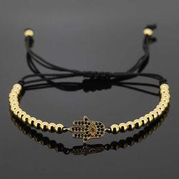 Wholesale Gold Stopper Bracelet - Wholesale-Anil Arjandas Macrame Bracelets Men Jewelry 24K Micro Pave Spartan Helmet CZ Hamsa Stoppers Beads Briading Macrame Bracelet