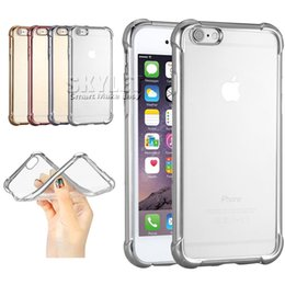 Wholesale Wholesale Silver Cushions - For Iphone 6S Transparent Case Electroplate Ultra thin Crystal Gel Case Shockproof Air Cushion Case For Iphone 5S 6S Plus with OPP Package