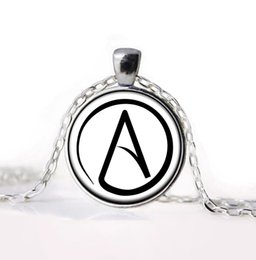 Wholesale Pewter Necklace Pendants - Wholesale-2016 new arrived Atheist Atheism Symbol Silver Pewter Necklace Pendant gifts glass Necklace Pendant Sweater Chain Gift
