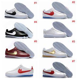 Wholesale Brand Men Leather Leisure Shoes - famous brand Casual Shoes men and women cortez shoes leisure Shells shoes cortez QS breathable Leather fashion outdoor Sneakers Eur 36-44