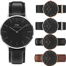 Wholesale Blue Wrist Watches - 2017 New Daniel Wellington DW watch men luxury branded watches for women fashion watch leather brown Casual Wrist watches