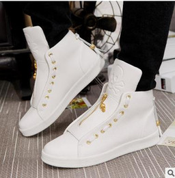 Wholesale Hip Hop High Top Sneakers - Fashion High-Top Men casual shoes Spring PU Breathable Men Hip-hop shoes Walking shoe male Outdoors sneakers