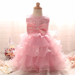 Wholesale Kids Puffy Dresses - 2017 Baby Girl Clothes Princess Summer Girls Dresses For Pageant Wedding Party Pink Puffy Ball Gown Infant Baby Kids Clothing