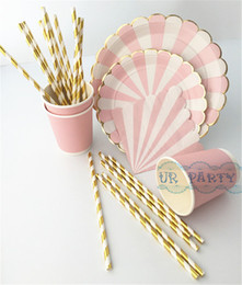 Wholesale Wholesale Paper Tableware - Wholesale-40 People Party Paper Plates Napkins Cups Straws Disposable Tableware Metallic Gold Pink Stripe Theme Party Wedding Decor