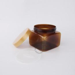 Discount salt boxes - Excellent Makeup Tools 500g Plastic Facial Mask Jars 500ml Amber PET Cream Jar Square Bath Salts Box 12pcs lot Free Shipping