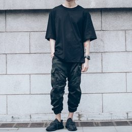 Wholesale Mens Cotton Camouflage Pants - Causal Camouflage Harem Pants for Men Kanye West Rubber String Arc Camo Design Mens Military Army Joggers Hip Hop Streetwear