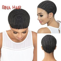 Wholesale Weft Cap - Synthetic cornrow wig cap for Convenient to Sew Weft crochet braid horseshoe capusing to Get a Wig black hairnets size M&L 1pieces lot
