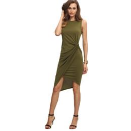 Wholesale Vintage Sheath Dress Xs - COLROVIE Female Army Green Sleeveless Knot Sheath Dress Asymmetrical Round Neck Sleeveless Wrap Knee Length Dress