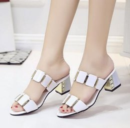 Wholesale White Heels Shop - White gauze summer European American women fashion lace sequins thick with sandals, outdoor shopping shiny slippers
