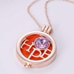 Wholesale Retail Essential Oils - Retail Aromatherapy Essential Oil Diffuser Hope Necklace Locket Pendant Jewelry with Crystal and 3 Washable NE579