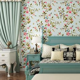 Fondos de pantalla de casas online-Fondos de pastoral no tejidos Fondos de pantalla de la sala de estar Fondos de dormitorio Habitación de la casa llena de la boda Papel pintado floral pequeño y fresco