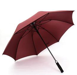 Wholesale Blue Golf Umbrella - Windproof Pongee Straight Long Handled Golf Umbrellas Fully-automatic Sunny Rainy 8K Umbrella Rain Gear solid colors prefect favors