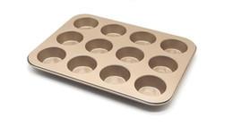 Wholesale Carbon Shallow - Wholesale- Non Stick Carbon Steel Shallow Muffin Cake Baking Pan Tray Tin Bakeware Baking Dish