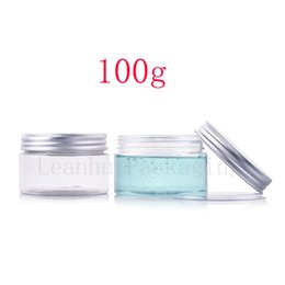 Wholesale Round Cosmetic Tins - 100g X 50 round empty transparent cosmetic cream plastic bottle jars containers skin care packaging ,100g PET mask clear tin jar