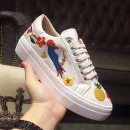Wholesale Satin White Platform - 2017 spring summer womens shoes lace up Genuine Leather with Satin Multicolor flowers embroidery Fashion platform Sneakers eur34-eur40