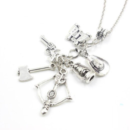 Wholesale Vintage Crystal Bottles Wholesale - The Walking Dead necklace vintage Zombie hat telescope bow and arrow gun axe water bottle pendant for men and women wholesale
