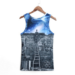 Wholesale Galaxy Men Shirt Wholesale - Wholesale- New Shirt Mens Popular Muscle Vest Men Slim Fit Clothings Sexy O Neck Animal Tattoo Tank Tops Sleeveless Shirt Galaxy Printed