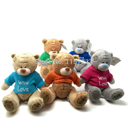 Wholesale Wholesale Valentines Teddy Bears - Wholesale- New Arrived 1pcs Plush Teddy Bears With Colorful T-Shirt Cute Plush toys Wedding Bear Doll Valentines Christmas Gift