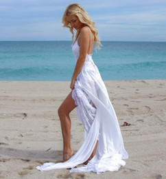 Wholesale Wedding Gown Chiffon Backless Flowing - Spaghetti Strap Beach Wedding Dress Sexy Backless V-neck Flowing Chiffon Lace Bohemian Style Summer Bridal Gowns 2017
