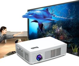 Wholesale 3d Projector Shutter - Wholesale-Hot Sales 1500 ANSI Lumens Holographic 3D Projector Mini Projector With Android 4.4 OS and Free 1 Active Shutter 3D Glasses