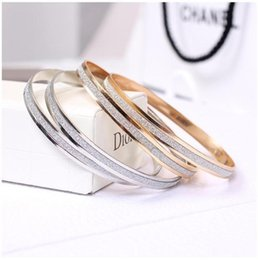 Wholesale Gold Double Rings - Fashion Women Matte Rose Gold Bangle 18K Gold & Silver Plated Double Ring Bangles Women Lady matte Bracelets wholesale free shipping