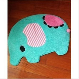Wholesale Oval Carpets - Free Shipping cartoon blue elephant Washable soft New Thick Carpet Shaggy Chilrenroom mat Rugs Bathmat Colours for kids bed room anti slip