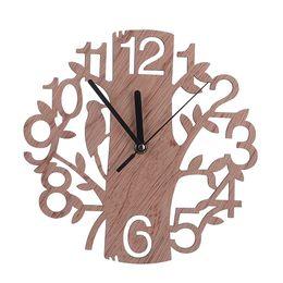 Wholesale Tree Wall Clock - 2Pcs lot Creative Tree Shape Wood Wall Clock Vintage Bedroom Living Room Cafe Bar Decorative Silent Clock