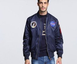 Wholesale American Bomber - 2016 spring Autumn thin NASA Navy flying jacket man varsity american college bomber flight ma1 jacket for men