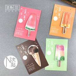 Wholesale Marker Stickers - 48pcs lot Cool Summer Ice Cream Creative Sticky Notepad Colored Stickers School Supplies New Stationery Note Message Marker