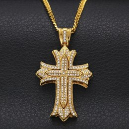 Wholesale Long Flower Crystal Pendant Necklace - Iced Out Crystal Rhinestone Antique Gothic Gold Silver Flower Cross pendant Hip Hop Elegant Long Cuban Chain