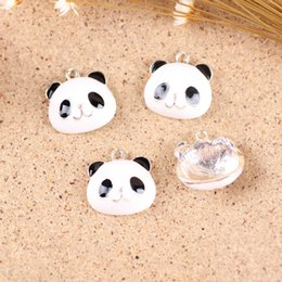 Wholesale Gold Coin Hair Jewelry - enamel charms 50PCS Kawaii Animal Panda Cute Alloy Enamel Charms DIY Jewelry Gold Tone Bracelet Necklace Earing Hair Bow Center Charms