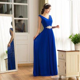 Wholesale Long Maternity Bridesmaid Dresses Chiffon - 2017 New Chiffon Evening Gowns Bridesmaids Long Party Prom Dresses With Crystals Deep V-Neck Backless Royal Blue Dresses