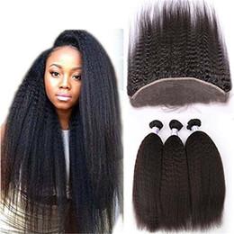 Brezilyalı bakire kıvırcık saç 3 adet İnsan saç dokuma dantel frontal demetleri ile kinky düz İnsan saç demetleri ile kapatma nereden