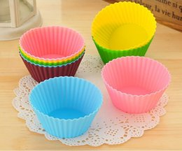 Wholesale Silicon Baking Cup - 7cm Round Shaped Silicone Cake Baking Molds Jelly Mold Silicon Cupcake Pan Muffin Cup 12 Colors Party Accessory Baking Cup Mold