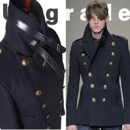 Wholesale Cotton Blazers For Men - Wholesale- gothic those days clothing british winter slim fit navy blue blazer wool mens pea coat trench long jackets coats for men, M-XXL
