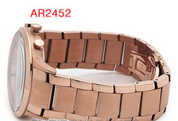 Wholesale Mens Water Proof Watches - New MENS AR2452 AR2453 AR2454 ROSE GOLD & STEEL Quartz Watch water proof wirstwatch All dial does work + original box